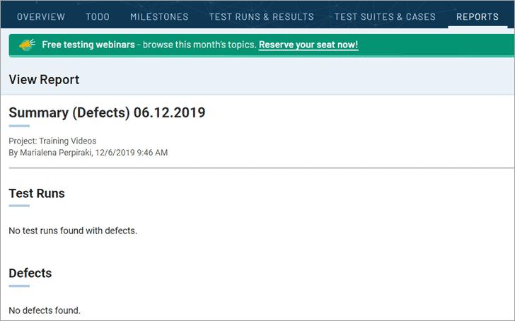 TestRail - Reports