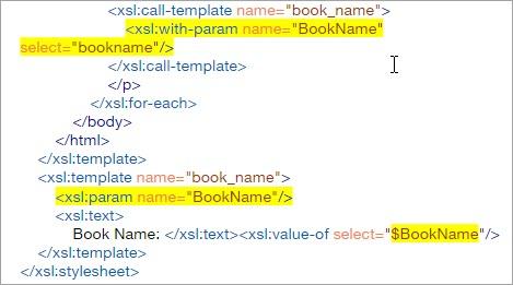 XSLT code param bookname