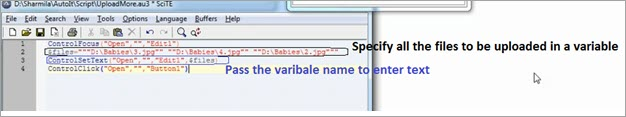 specify all the filenames in a variable