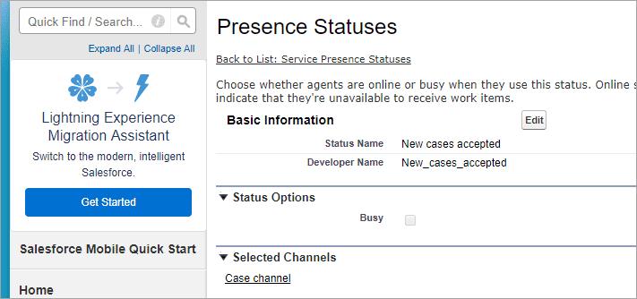Created presence status