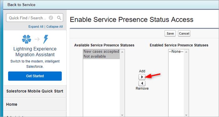 Enable Service Presence Status Access
