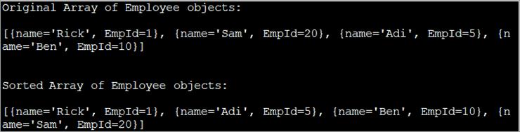 Array is sorted based on employee Id