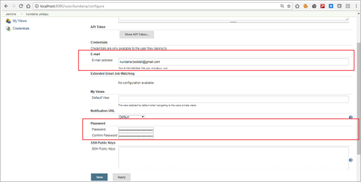 Figure 5 Set the password and email in configure