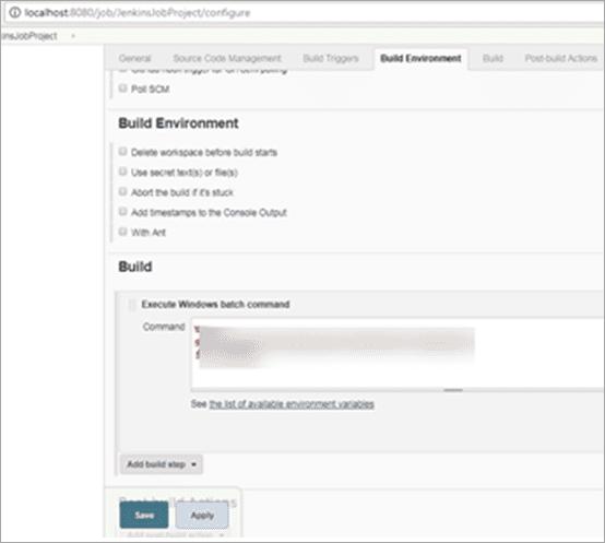 Figure.7 Build step in SCM configuration