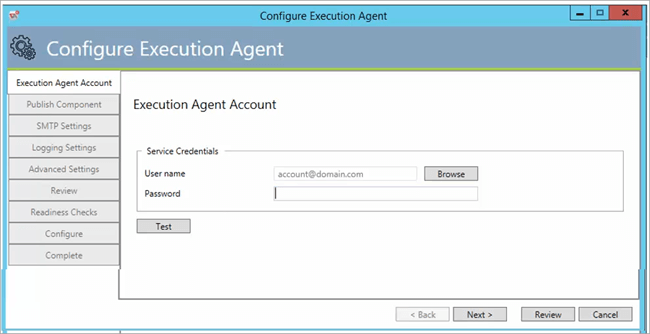 The Configure Execution Agent menu of the ActiveBatch Management Console setup wizard.