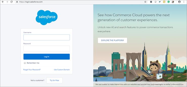 Salesforce login page