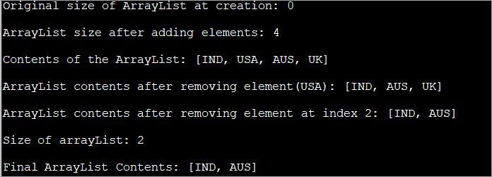 ArrayList java example