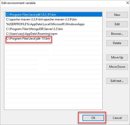 Edit Environment Variable