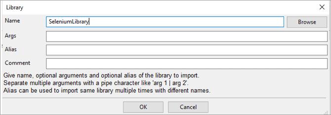"Library 'SeleniumLibrary"""