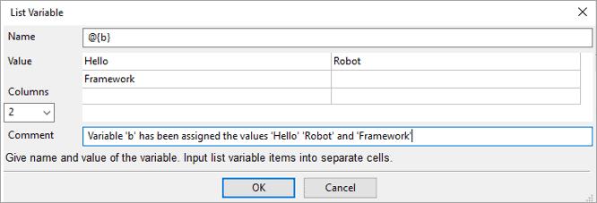 List variables