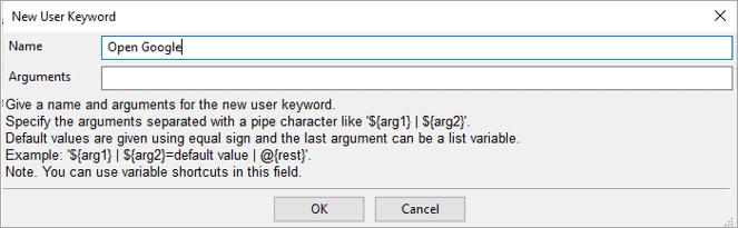 New User Keyword