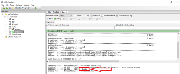 Setup is executed first, followed by logging 'Hello' on console