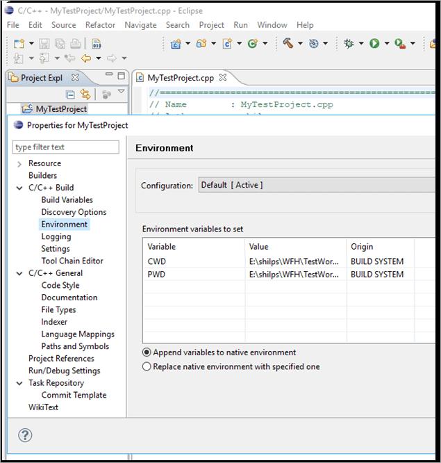 Environment variables to set