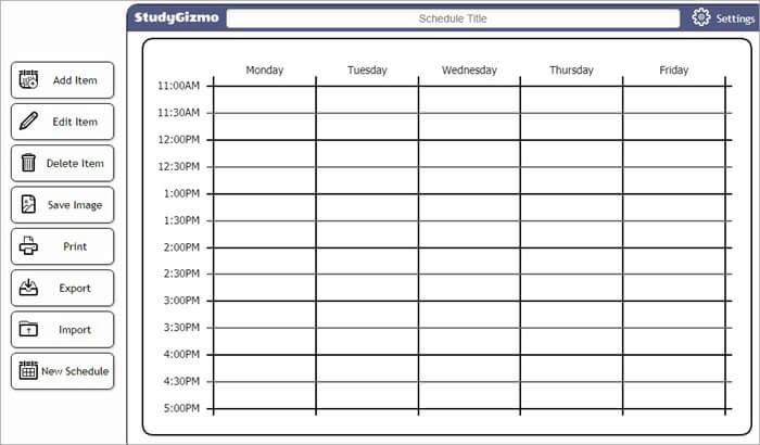 Free College Schedule Maker