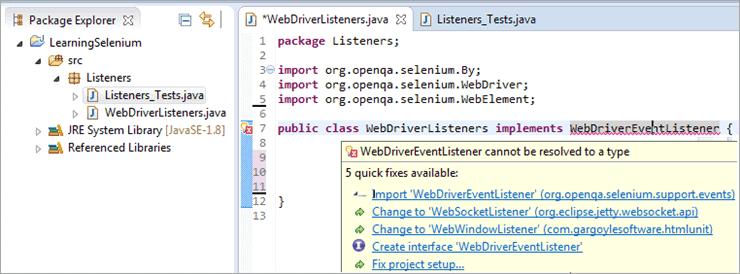 """Error message to import """"WebDriverEventListener"""""""
