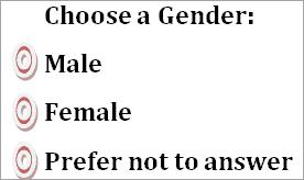 Gender Radio button
