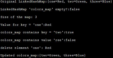 output - LinkedHashMap Implementation in Java