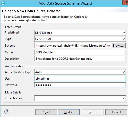 Add datasource schema wizard
