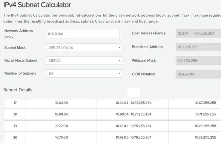 Class A network calculator screenshot part-2