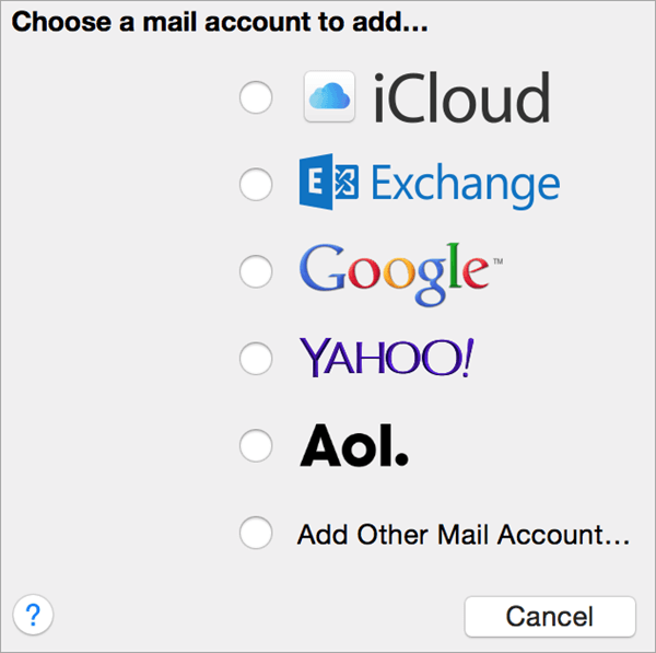 Mail account radio button