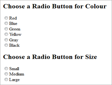 radio buttons for selection of colour and size