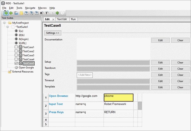 'Input text' is the Selenium keyword