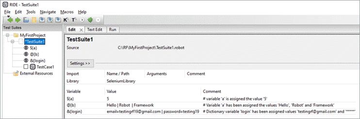 'TestSuite1' (Edit tab)