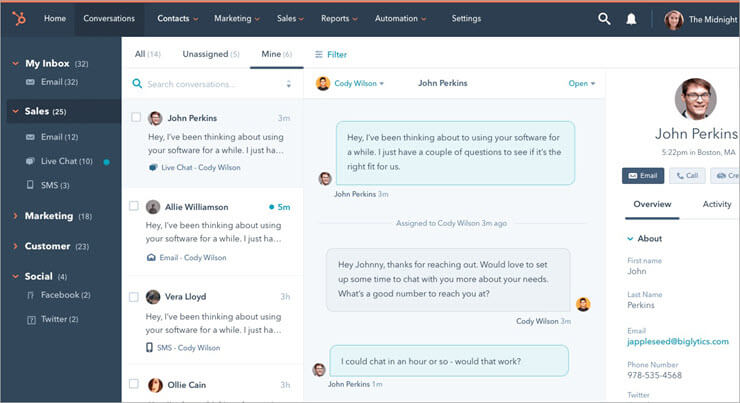Hubspot LiveChat Dashboard