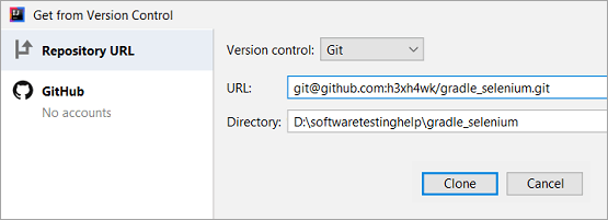 Github repository path in the URL text box
