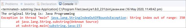 Scenario 1 - Java substring