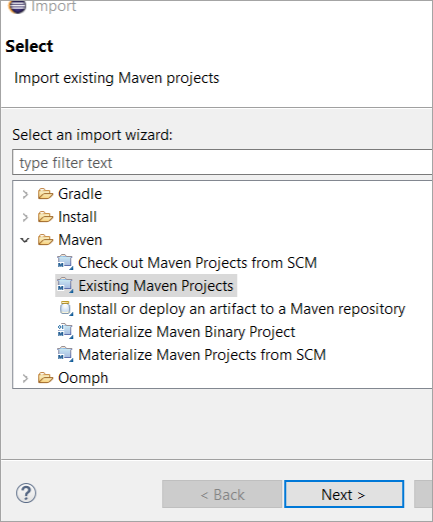 import existing Maven project