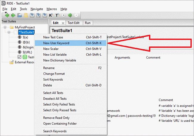 select 'New User Keyword'