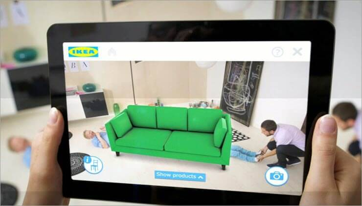 Man using IKEA AR App