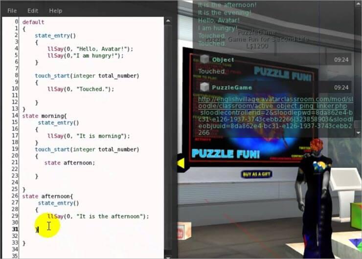 Linden Lab scripting on Second Life.