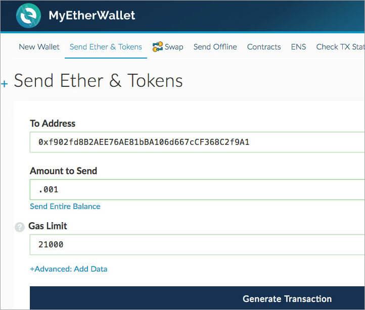 Sending cryptocurrencies