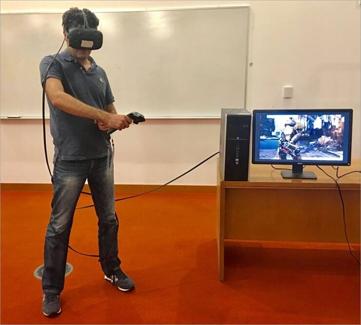 Using a HTC VR headset tethered to P.C.