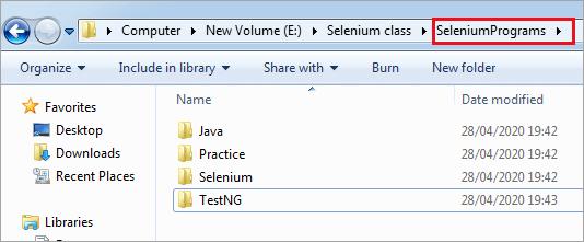 Folders inside the opened folder
