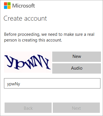 Creating the account