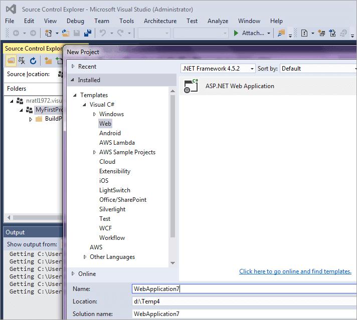 Create a new ASP.Net