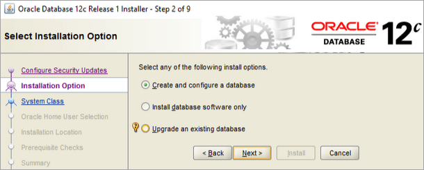 Select the option Create and Configure Database