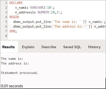 Variable declaration-output