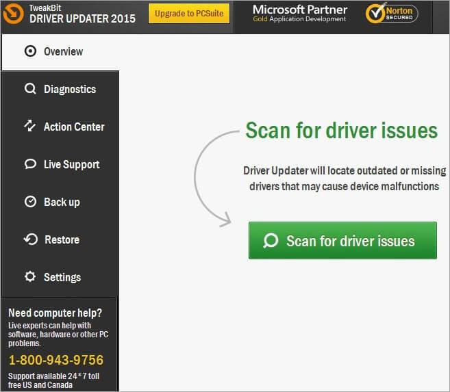 TweakBit Driver Updater Dashboard