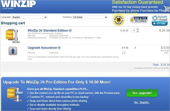 WINZIP download homepage