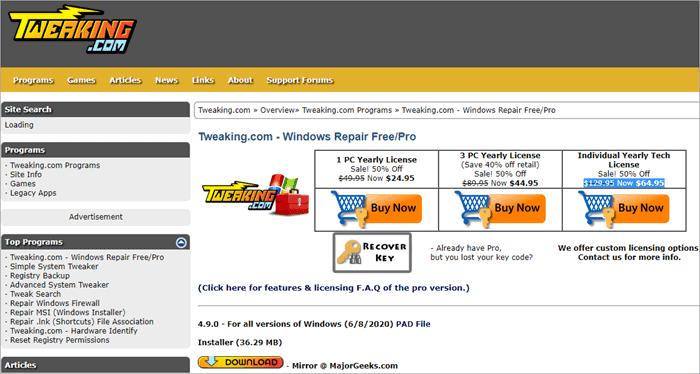 Windows Repair by Tweaking