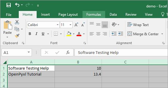 Write in Excel sheet