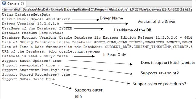 DatabaseMetaData Example