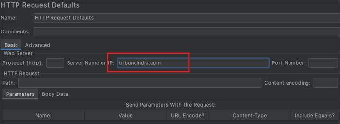 add Server name as tribuneindia.com