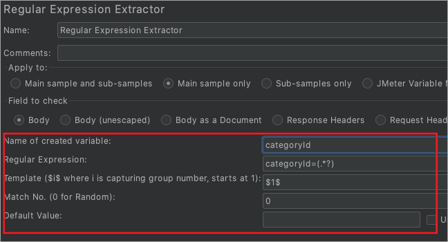 Regular expression extratctor_options