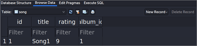 Sqlite Song table
