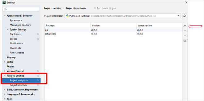 Using Available Packages option in PyCharm